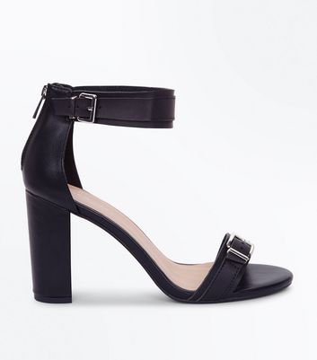 Black Buckle Strap Block Heel Sandals