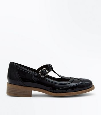 Girls Black T-Bar Low Block Heel Brogues