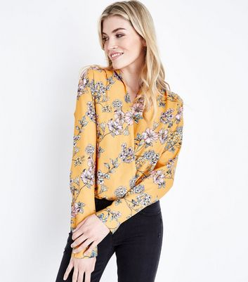 Tall Yellow Floral Long Sleeve Wrap Bodysuit