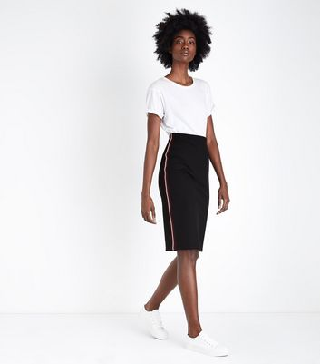 Black Stripe Side Jersey Pencil Skirt
