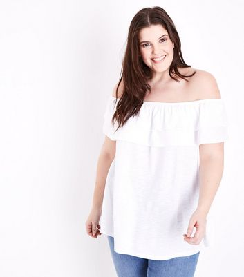 Curves White Ruffle Bardot Neck Top
