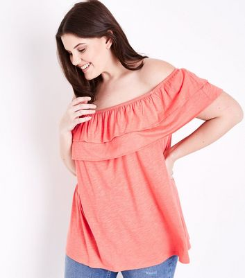 Curves Pink Ruffle Bardot Neck Top
