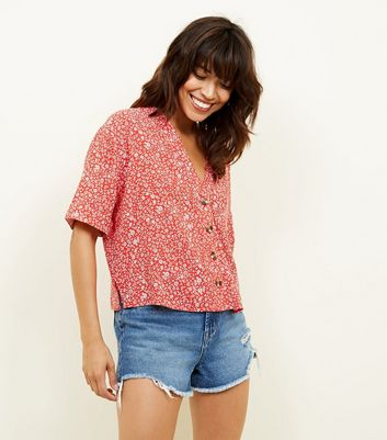 Red Ditsy Floral V Neck Boxy Shirt by New Look