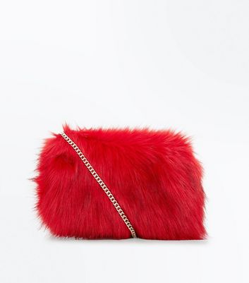 Red Faux Fur Cross Body Bag