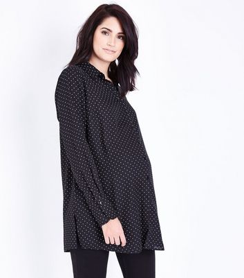 Maternity Black Polka Dot Side Split Shirt