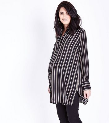 Maternity Black Stripe Side Split Longline Shirt