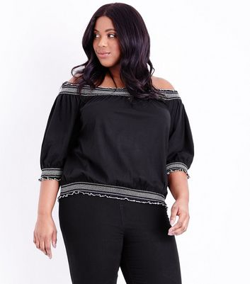Curves Black Contrast Stitch Bardot Top