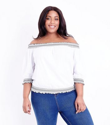 Curves White Contrast Stitch Bardot Top