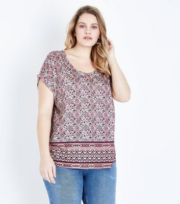 Curves White and Pink Floral Border Print T-Shirt