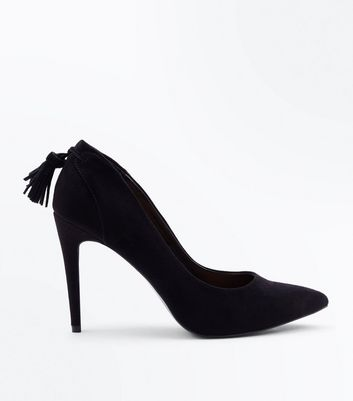Black Suedette Tassel Back Court Shoes