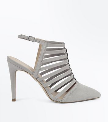 Grey Suedette Caged Pointed Stiletto Heels