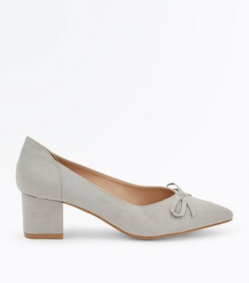 Grey Suedette Bow Front Pointed Courts