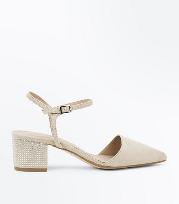 Cream Suedette Pointed Diamanté Heels