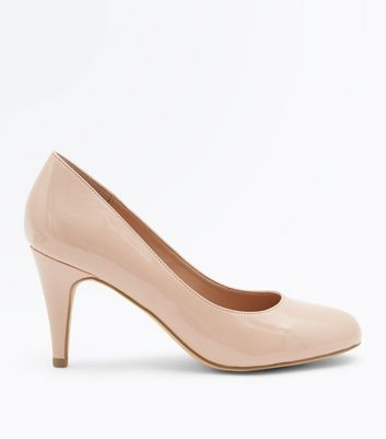 Nude Faux leather kitten heel frilled front court shoes rFLRBSE