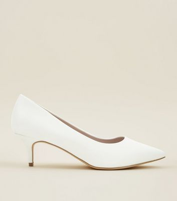 ... Wide Fit Off White Satin Kitten Heel Wedding Courts