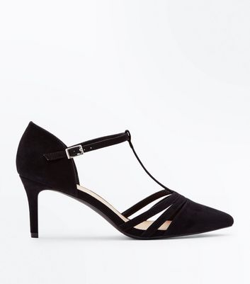 Wide Fit Black Suedette T Bar Pointed Courts by New Look