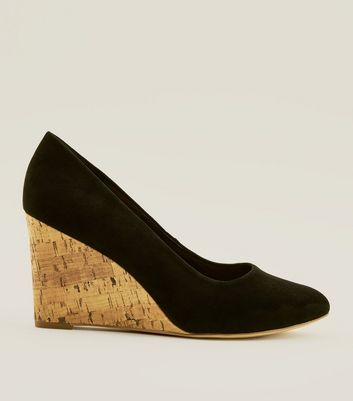 Wide Fit Black Suedette Round Toe Wedges