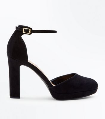 Wide Fit Black Suedette Two Part Platform Courts by New Look