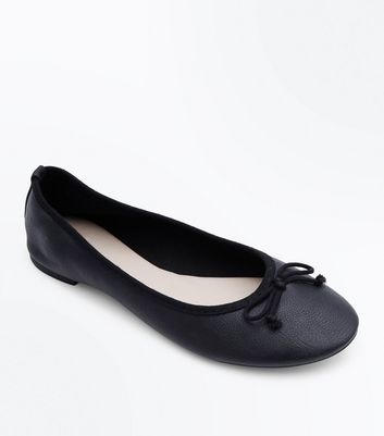 Black Bow Front Ballerina Pumps by New Look
