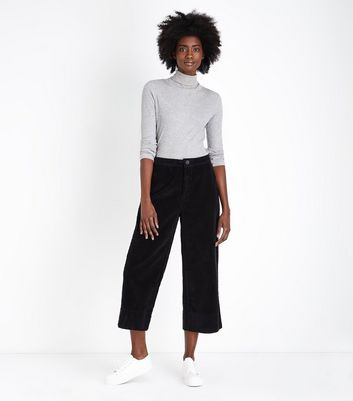 Black Wide Leg Cropped Corduroy Trousers