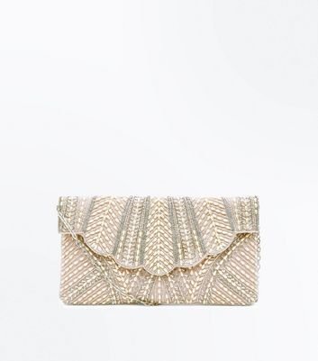 Cream Pearl Embellished Scallop Clutch