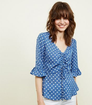 Blue Vanilla Blue Polka Dot Ruched Blouse