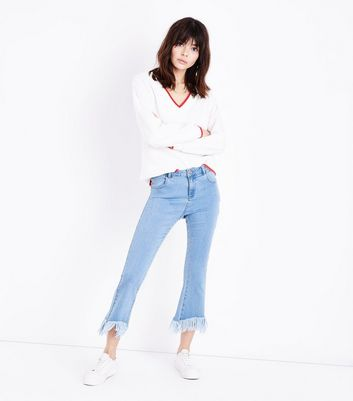 Pale Blue Kick Flare Frayed Hem Jeans
