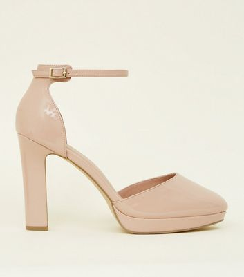 Wide Fit Nude Patent Platform Two Part Courts