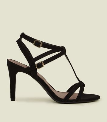 ... Wide Fit Black Suedette T-Bar Strappy Sandals