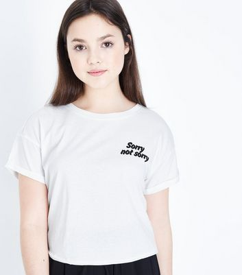 Teens White Sorry Not Sorry T-Shirt