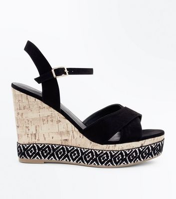 Black Suedette Aztec Sole Wedges