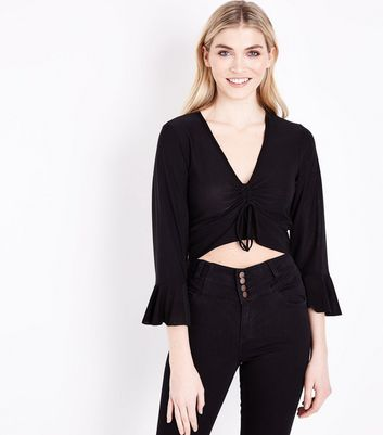 Cameo Rose Black Ruched Frill Sleeve Crop Top