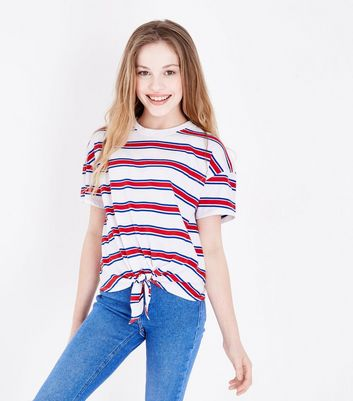 Teens White Stripe Tie Front T-Shirt