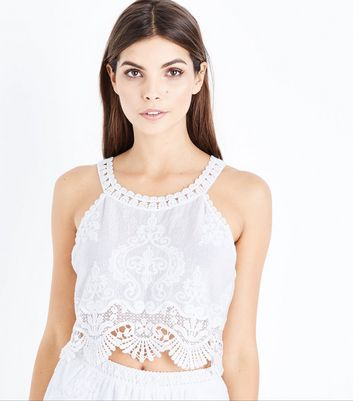Cameo Rose White Lace Crochet Trim High Neck Top