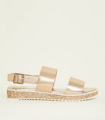 Girls Rose Gold Chunky Flatform Sandals