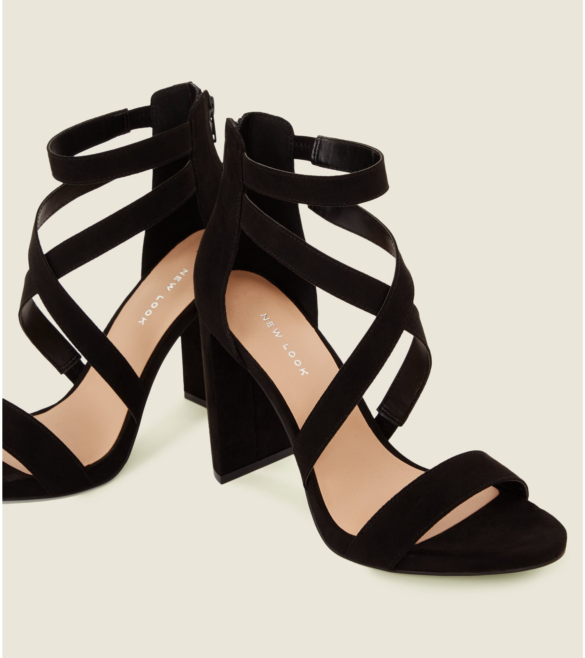 6f01b0d36897 New Look Black Suedette Strappy Block Heel Sandals at £25.99