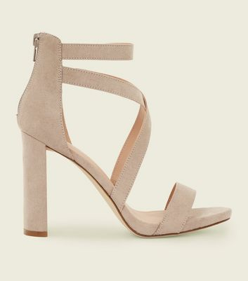Grey Suedette Strappy Block Heel Sandals