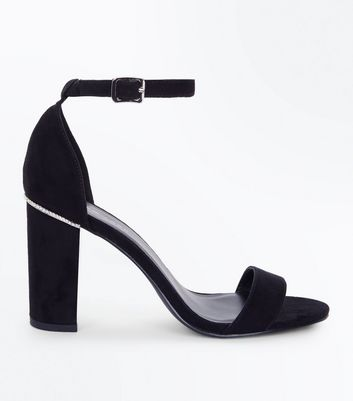 Black Suedette Diamante Trim Block Heels