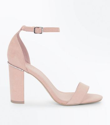 Nude Suedette Diamante Trim Block Heels