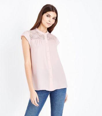 JDY White Stripe Jersey Midi Dress; JDY Pink Lace Yoke Sleeveless Shirt