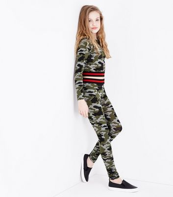 Teens Green Camo Contrast Elastic Leggings