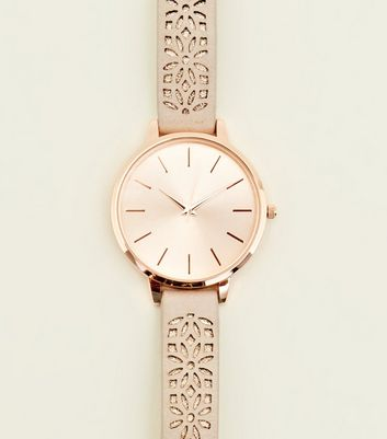 Rose Gold Laser Cut Strap Watch