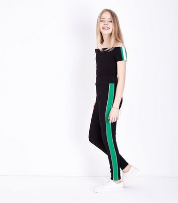 Teens Green Contrast Stripe Side Leggings