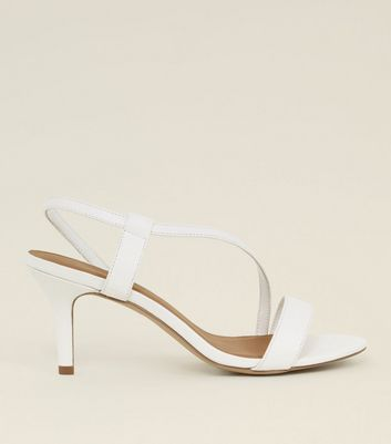 Wide Fit White Asymmetric Strap Mid Heel Sandals by New Look