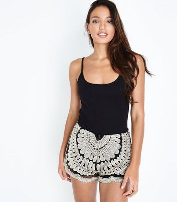 Cameo Rose Black Metallic Embroidered Shorts