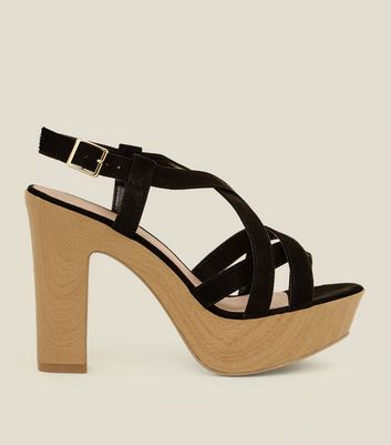 Wide Fit Black Suedette Wood Platform Block Heels by New Look