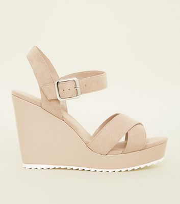 Wide Fit Nude Cleated Wedge Sandals