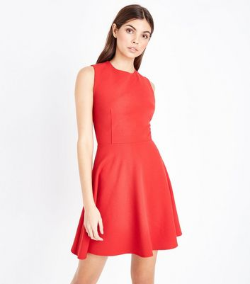 Red Wrap Back Scuba Skater Dress