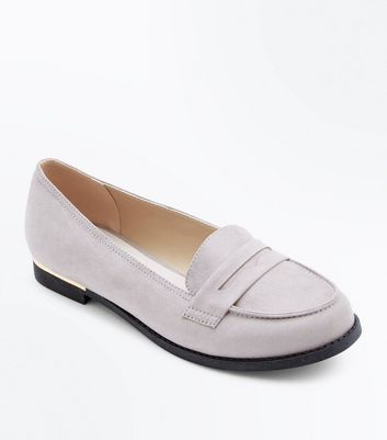 Wide Fit Grey Comfort Suedette Metal Trim Loafers
