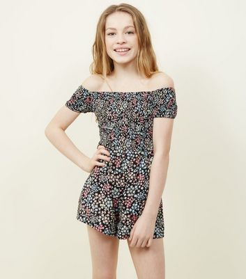 Teens Black Ditsy Floral Shirred Playsuit